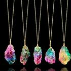 rainbow pendant necklace for women gold color colorful natural stone pendant jew image