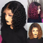 Short Curly Lace Front Hair Wig Ombre Brazilian Water Wave Pre plucked.