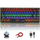 Mechanical Gaming Keyboard Rainbow LED Backlit 82 key Blue Switch For Gamers