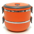 2 Layer Stainless Steel Lunch Bento Box Round Food Container Thermal Insulated