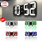 Modern Digital 3D Large LED Wall Clock Alarm Clock Snooze 12/24 Hour Display USB