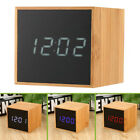 Alarm Clock Set Night Light Bamboo Wood Mirror Electronic LED USB Cable Students