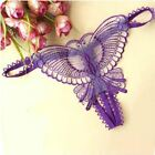 Women Butterfly Lace Micro Opening Crotch Panties Thongs G Strings Transparent U