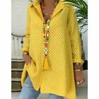 Women's Summer Loose Casual Dot Blouse Shirt Long Sleeve Polka Tops Beach Or OL