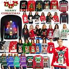 Womens Mens Ladies Unisex Xmas Christmas Jumpers Knit 3D LIGHT Fair Isle Novelty