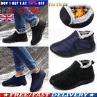 MENS WATERPROOF WINTER FUR-LINED FLUFFY WARM SNOW ANKLE BOOTS SLIP ON SHOES SIZE