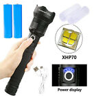 LED Tactical Flashlight Rechargeable 200000LM Super Bright Torch Zoomable XHP70