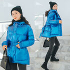 Women Shiny Cotton Padded Coat Parka Hooded Jacket Warm Overcoat Oversize Thick