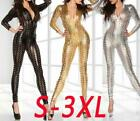Sexy Hollow Metallic Bodysuit Catsuit Jumpsuits Clubwear zentai Cosplay S-3XL