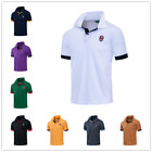 Men's Slim Short Sleeve Shirts Casual Gol T-Shirt Mulscle Embroidered Polo Shirt image
