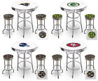 NFL Themed White Bar Table Set with Glass Option Game Room Indoor Covered Patio $729.88 USD on eBay