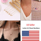 Us Charm Heart Letter Initial A-z Alphabet Pendant Chain Necklace Christmas Gift
