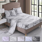 "Super Soft Bed Sheet Set 16"" Deep Pocket Marble Printed Fitted Bedding Sheets image"