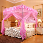 Princess Pink 4 Corners Post Bed Canopy Curtain Netting Mosquito Net Or Frame image