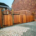 Sapele Hardwood Swan Neck Open Top - Driveway Entrance Courtyard Gates Bespoke