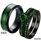 Couple Ring Black Plated Titanium Mens Wedding Bands Green CZ Womens Ring Sets image