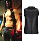 Hot Men's Faux Leather T-shirt Undershirt Tee Top Sleeveless Muscle Gym T Shirts