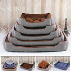 Striped Soft Washable Dog Pet Warm Basket Bed Cushion with Lining Washable S/M/L