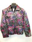 Chico's Size 1 M Silver Purple Pink Print Jacket Quilted Coat Full Zip Paisley