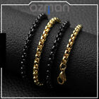 Men Women Black Gold High Grade Stainless Steel Square Chain Necklace 40-60cm