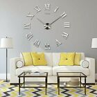 Extra Large DIY 3D Wall Clock Roman Numerals Mirror Sticker Decal Art Home Decor