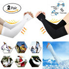 2*pairs Cooling Arm Sleeves Cover UV Sun Protection Basketball Sport White Black