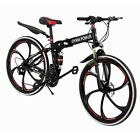 "Full suspension Folding Mountain Bike 26"" 21 Speed Bicycle Disc Brake Bikes MTB"