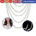 White Pearl Plastic Beads Long Necklace for Vintage Wedding Theme Parties 47Inch