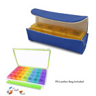 (7-Day   4-Times-A-Day) Pill Case Organizer + Leather Case (Moisture-Proof)