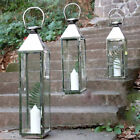 Garden Lantern Candle Holder Stainless Steel & Glass Windproof Indoor/Outdoor UK