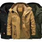 Men Winter Thick Fur Lined Jacket Hooded Cargo Military Parka Coat Outwear Tops