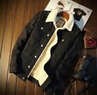Men's Fleece Lined Winter Warm Coat Trucker Denim/Jean Jacket Fur Collar coat