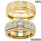Yellow Gold Plated Couple Rings Titanium Mens Band CZ Womens Wedding Ring Sets image