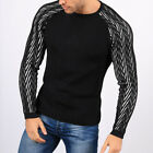 Men Knitted Round Neck Jumper Sweater Pullover Long Sleeve Muscle Tops Winter