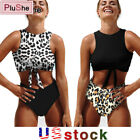 Women High Waisted Vest Leopard Swimsuit Bikini Swimwear Bathing Beachwear Suit