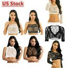 Women Ladies Sexy Lace Long Sleeves Crop Tank Tops Mesh See Through Blouse Shirt