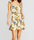 *WOMENS FLORAL PRINT CAP SLEEVE STRAPPY BUTTON DOWN DRESS w/ POCKETS XHILARATION