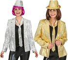 Ladies Sequinned Gold Silver 1970s Disco Jacket Fancy Dress Costume Outfit