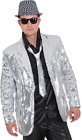 Mens Silver Sequin Christmas 1970s Disco Fancy Dress Jacket Costume Outfit M-XL