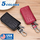 Car Key Holder Cover Key Chain Bag Genuine Leather Remote Fob Zipper Case US