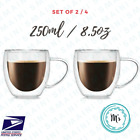 Double Wall Insulated Glass Coffee Cup 250ML/8.5 OZ Mug Latte Tea Set of 2 H