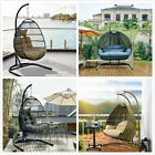 Hanging Egg Chair Outdoor Porch Garden Swing Cushion Rattan Seat Steel Stand New
