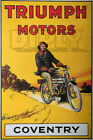PLAQUE ALU DECO AFFICHE TRIUMPH MOTORS COVENTRY MOTORCYCLE MOTO PILOTE CYCLE $50.82 USD on eBay