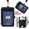 Miolle Black Leather Badge Holder - Rfid Neck Wallet With Lanyard - Slim Mini Ca