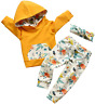 Baby Girl Clothes Long Sleeve Floral Hoodie Sweatshirt Pants With Pocket Headban