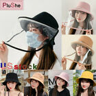 1/2Pcs Removable Protective Face Shield Anti-saliva Sun Visor Fisherman Cap Hat