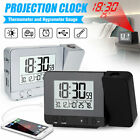 Digital Projection LED Dual Alarm Clock Thermometer Humidity Snooze USB Charging
