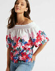 Ladies Gypsy Top Of The Shoulder Half Sleeve Floral X Stores Bardot Top Blouse