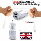 DOUBLE PORT IN CAR CHARGER PLUS MICRO USB CHARGING CABLE LEAD SAMSUNG GALAXY J4