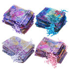 50/100Pcs Sheer Coralline Organza Gift Bags Jewelry Pouches Party Wedding Favor